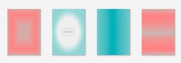 Okładka abstrakcyjne kształty. minimalistyczna prezentacja, ulotka, afisz, układ patentowy. różowy i turkusowy. abstrakcyjne kształty okładka i szablon z elementami geometrycznymi linii.