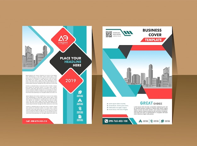 Okładka broszury ulotki w formacie a4 z kolorowymi geometrycznymi