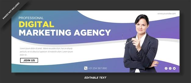 Okładka facebooka agencji marketingu cyfrowego i szablon mediów społecznościowych