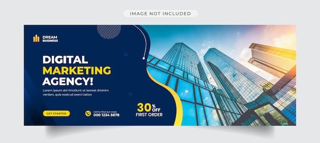 Okładka facebooka i szablon banera internetowego agencji marketingu cyfrowego
