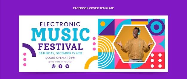 Okładka festiwalu muzycznego o płaskiej konstrukcji mozaiki na facebooku