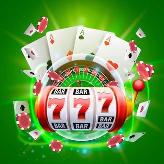 Okładka kasyna 3d, automaty do gier i ruletka z kartami, grafika tła sceny. ilustracja wektorowa