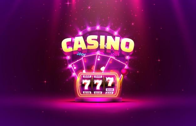 Okładka kasyna 3d, automaty do gier i ruletka z kartami, grafika tła sceny