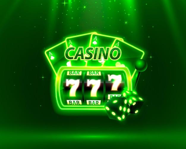 Okładka kasyna neon, automaty do gier i ruletka z kartami, grafika tła sceny. ilustracja wektorowa