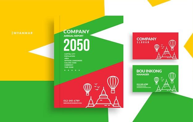 Okładka książki raportu rocznego myanmar i minimalistyczny projekt wizytówki