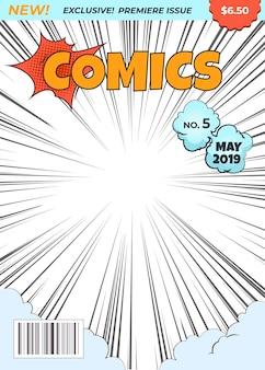Okładka magazynu comics. ilustracja strony tytułowej superbohatera komiksu. kreskówka obraz pop-art półtonów dot wektor koncepcja projektowania
