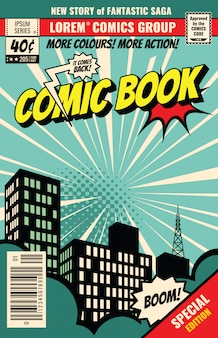 Okładka magazynu retro. szablon wektor komiksu rocznika. okładka książki dla ilustracji komiksowej strony kreskówki