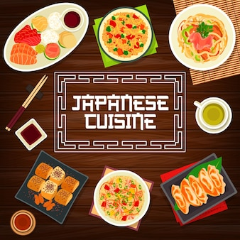 Okładka menu kuchni japońskiej, plakat dań na lunch