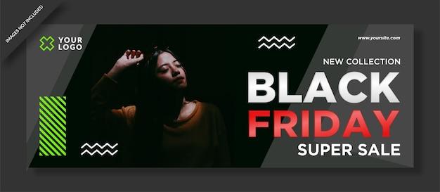 Okładka na czarny piątek na facebooku i post w mediach społecznościowych