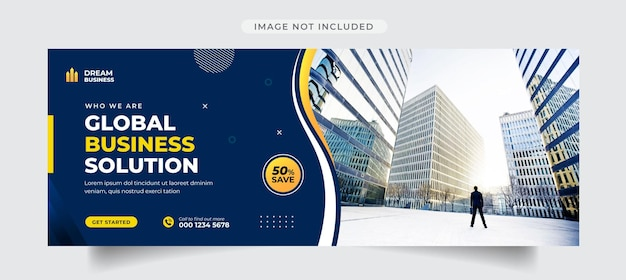 Okładka na facebook agencji biznesowej i szablon banera internetowego