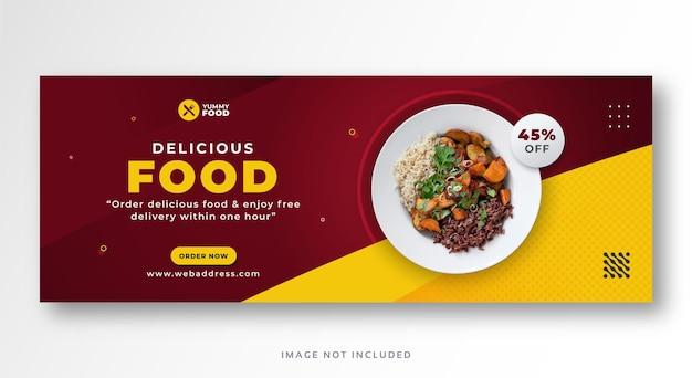 Okładka na facebooka z jedzeniem w restauracji lub szablon banera panoramicznego