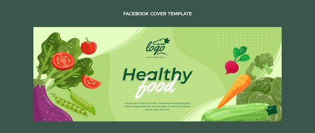 Okładka na facebooku z płaską żywnością ekologiczną