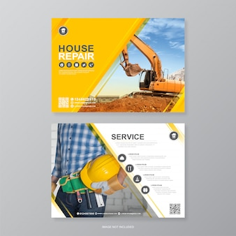Okładka narzędzi budowlanych korporacyjnych, szablon projektu ulotki a4 a4 i płaskie ikony