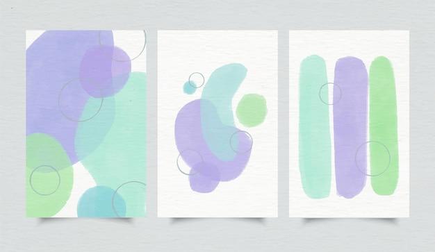 Okładka pakietu abstrakcyjnych kształtów akwarela