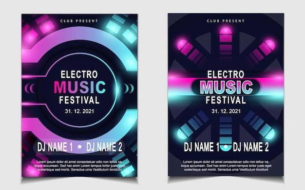 Okładka plakatu muzycznego tła projektu ulotki z kolorowym efektem świetlnym
