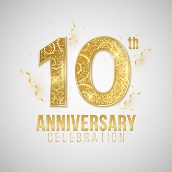 Okładka rocznicy. eleganckie złote cyfry na białym tle z spadającym konfetti i świecidełkiem.