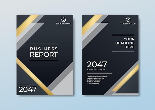 Okładka szablonu broszury nagłówek i stopki wielokątny wzór luksusowy styl na ciemnoniebieskim i białym tle ze złotymi liniami. możesz użyć do papieru firmowego, plakatu, banera internetowego, druku i nie tylko