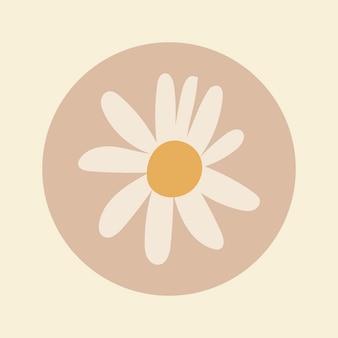 Okładka wyróżnienia na instagramie natury, kwiat doodle w wektorze projektu w tonacji ziemi