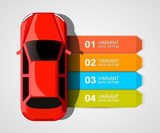 Okładka z informacją o wyścigach samochodowych. ilustracja infografiki