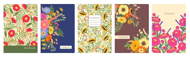 Okładki notebooków z wiosennymi kwiatami artystyczny kwiatowy okładka modny planer lub szablon wektora notebooka