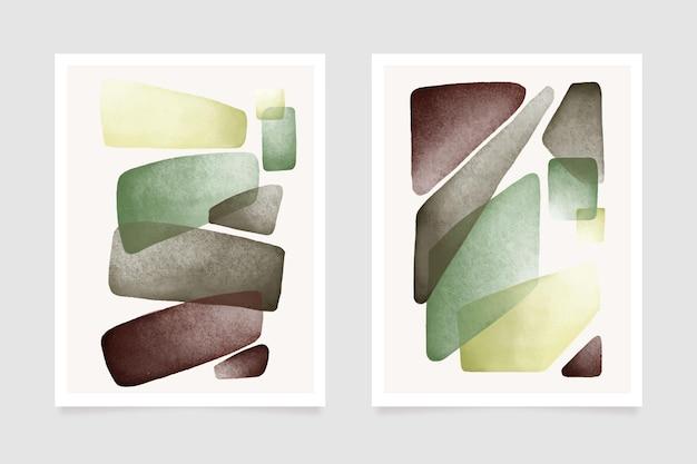 Okładki z abstrakcyjnymi akwarelowymi kształtami