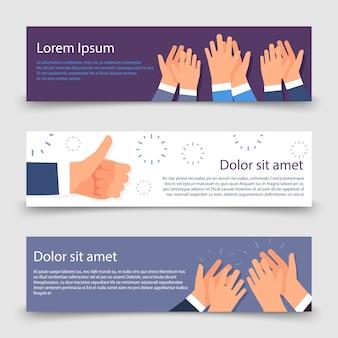 Oklaski płaskie banery szablon z klaskanie ręce