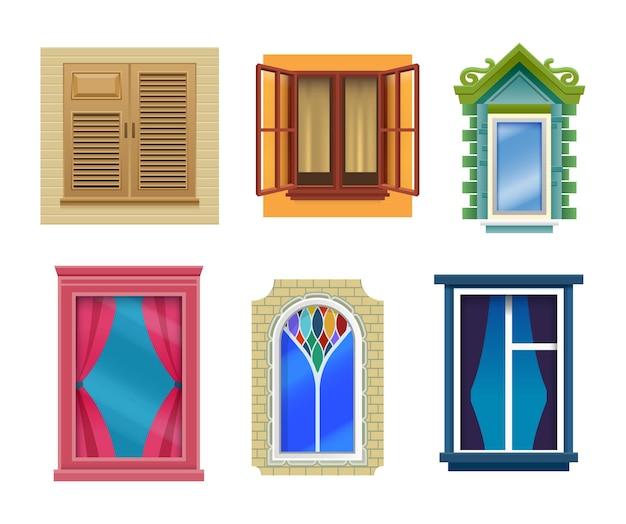 Okna domu, mieszkanie kreskówki, design nowoczesny i retro. okna z zamkniętymi i otwartymi skrzydłami witrażowymi z zasłonami, okiennicami i parapetami w murowanych i plastikowych ramach okiennych