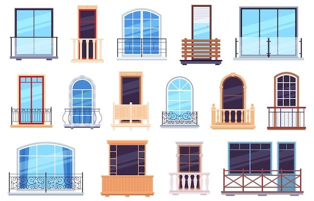 Okna i balkony. fasada domu architektury z nowoczesnymi i klasycznymi drzwiami balkonowymi, ramami skrzydłowymi i balustradami. budowa balkonu elewacji, ilustracja mieszkania architektura