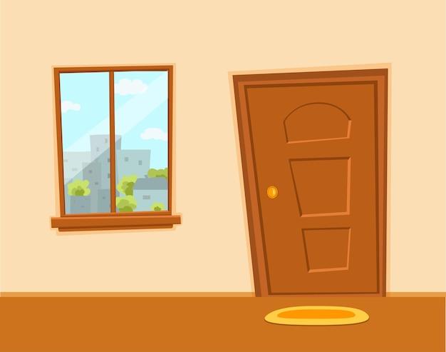Okna i drzwi kreskówka kolorowa ilustracja wektorowa z miejskiego krajobrazu architektury miasta krajobraz z drzewami, niebo