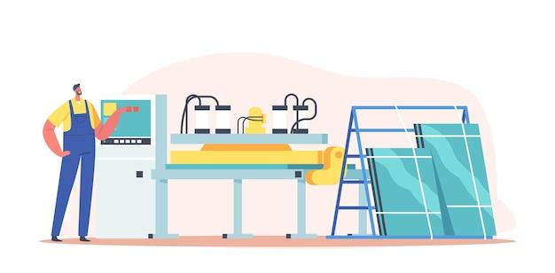 Okna plastikowe, koncepcja produkcji profili pcv. pracownik męski charakter w mundurze na produkcji fabryczne okulary produkują. roboty budowlane, biznes lub przemysł. ilustracja wektorowa kreskówka ludzie