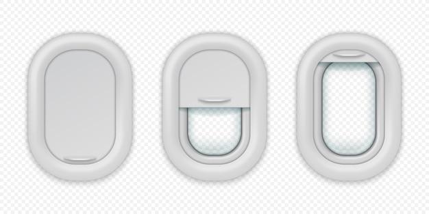 Okna samolotu. realistyczny iluminator samolotu w różnych pozycjach, otwarty zamknięty i do połowy zamknięty