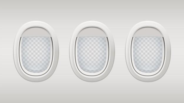 Okna samolotu. wewnątrz realistycznego szablonu okien samolotu. iluminatory szare tło z przezroczystymi elementami.