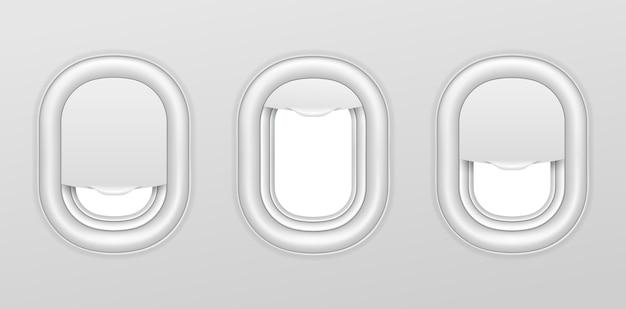 Okna samolotu. wnętrze samolotu z przezroczystymi iluminatorami. realistyczne samoloty oświetlacze wektor na białym tle zestaw