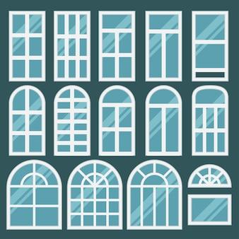 Okna ustawione z różnymi ramkami. błyszczące nowe okno dla sieci, budowanie wnętrza.