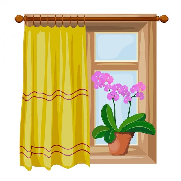 Okna w stylu kreskówek z zasłonami