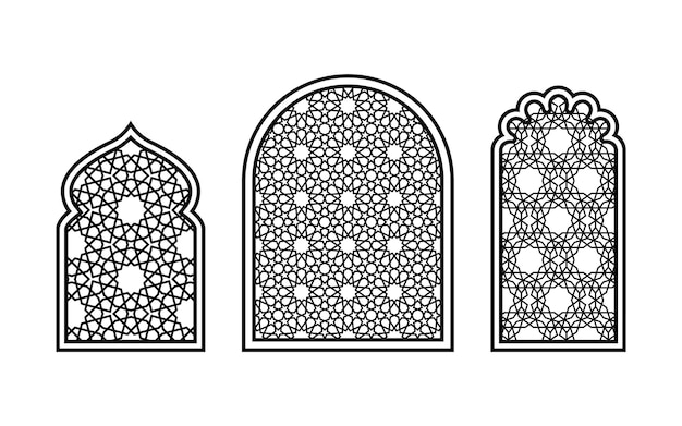 Okna w stylu orientalnym z tradycyjnymi muzułmańskimi wzorami geometrycznymi. sylwetki do rzeźbienia na białym tle. ilustracja wektorowa.
