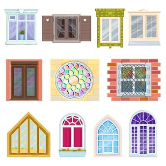 Okna z drewnianymi i plastikowymi ramami wykonanymi ze szkła i okna