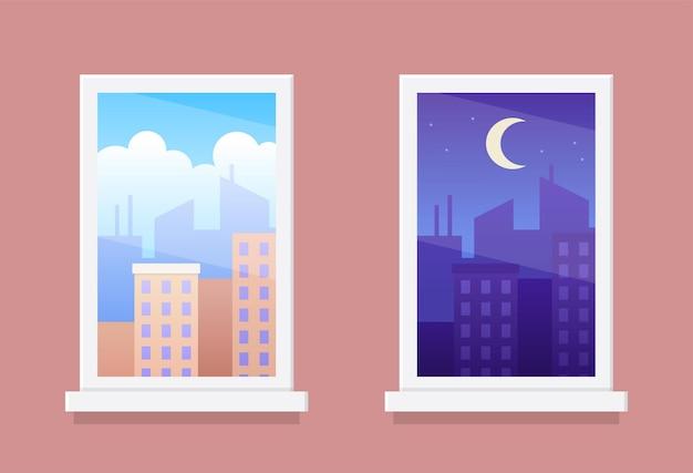 Okna z krajobrazami miejskimi w dzień iw nocy
