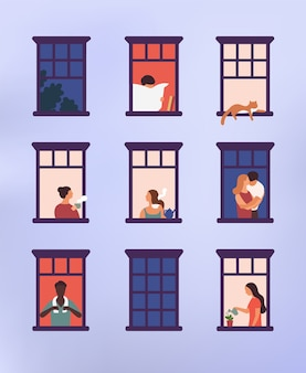 Okna z sąsiadami wykonującymi codzienne czynności w mieszkaniach - picie herbaty, rozmowa, podlewanie doniczkowej rośliny, przytulanie lub przytulanie, czytanie gazety