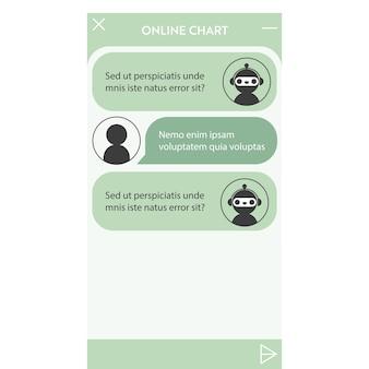 Okno chatbota. interfejs użytkownika aplikacji z dialogiem online. rozmowa z asystentem robota
