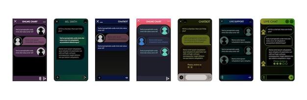 Okno chatbota. tryb ciemnej nocy. interfejs użytkownika aplikacji z dialogiem online. rozmowa z asystentem robota