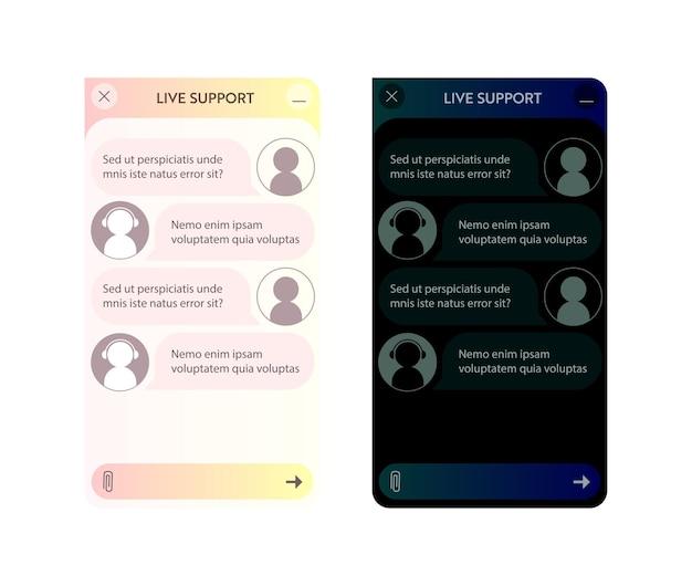 Okno chatbota. tryb ciemny i jasny. interfejs użytkownika aplikacji z dialogiem online. rozmowa z asystentem robota