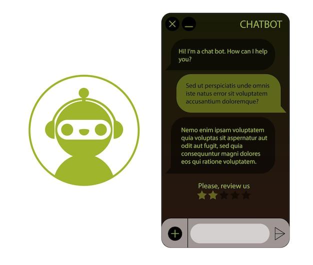 Okno chatbota z zestawem ikon robota. interfejs użytkownika aplikacji z dialogiem online. rozmowa z asystentem robota