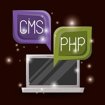 Okno dialogowe laptopa i okna dialogowego z językiem programowania sieciowego