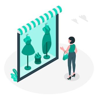 Okno ilustracja koncepcja zakupy