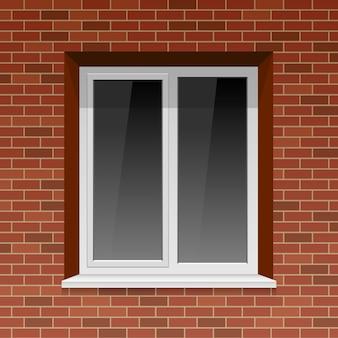 Okno na ściana z cegieł ilustraci