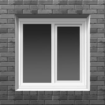 Okno na ścianie z cegły