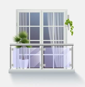 Okno nowoczesnego budynku z wyjściem na balkon realistycznie ogrodzony przezroczystym szkłem