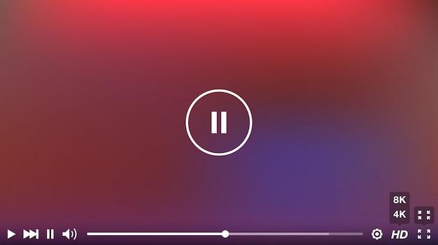Okno odtwarzacza wideo z menu i przycisków panelu wektor