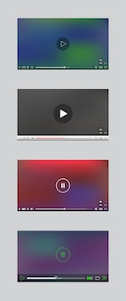 Okno odtwarzacza wideo z menu i zestaw przycisków panelu wektor. kolekcja interfejsów użytkownika.